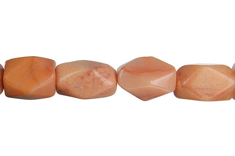 Peach Aventurine Faceted Nugget Beads