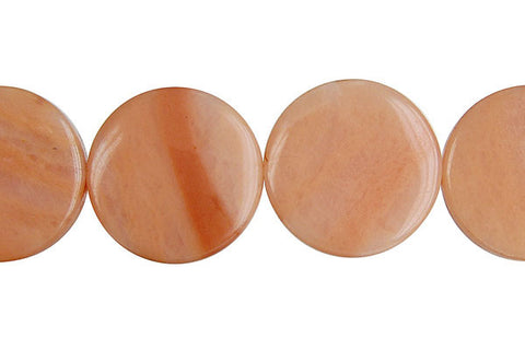 Peach Aventurine Coin Beads
