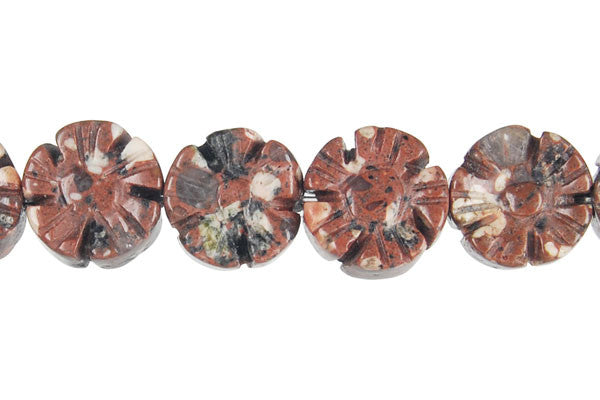 Mica Quartz Carved Clubs (Coin) Beads
