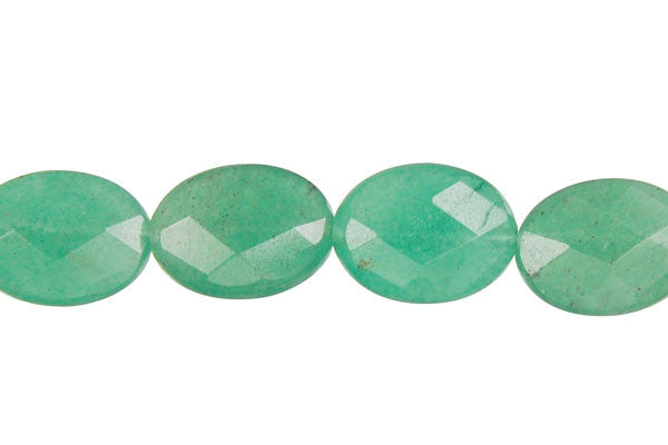Green Aventurine Faceted Flat Oval Beads