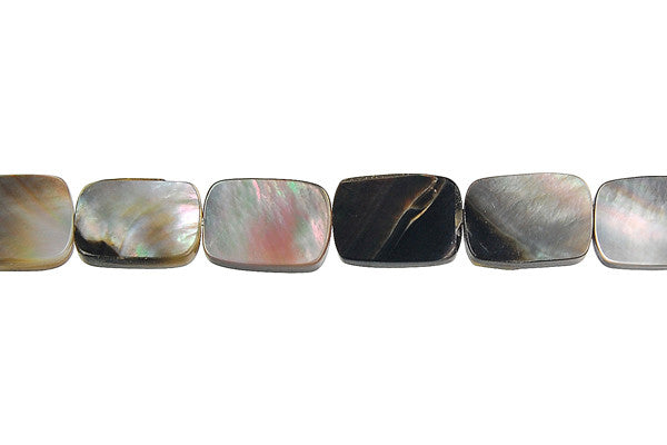 Shell (Black MOP) Flat Rectangle Beads