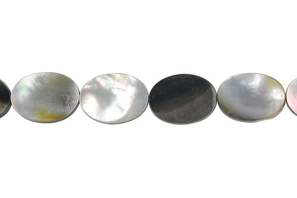 Shell (Black MOP) Flat Oval Beads
