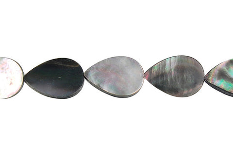 Shell (Black MOP) Flat Briolette (Vertical Drilled) Beads