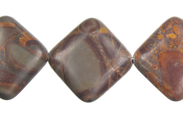 Golden Jasper Puffy Square Beads