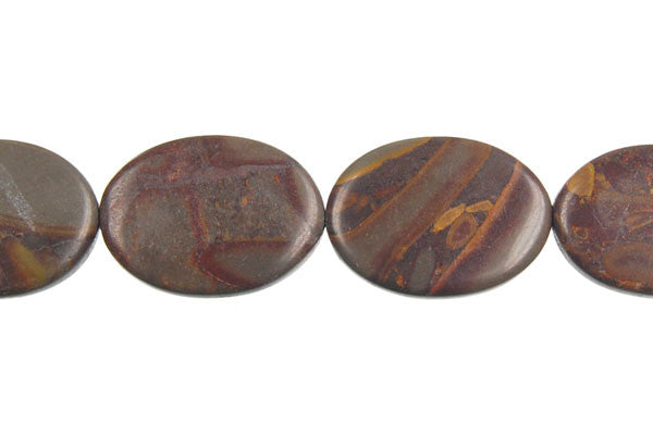 Golden Jasper Flat Oval Beads