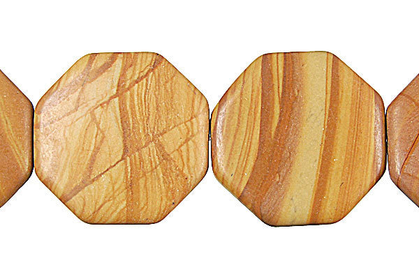 Wood Jasper Octagon Beads