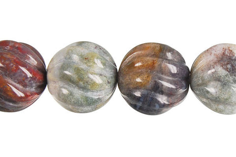 Fancy Jasper Carved Wave (Round) Beads