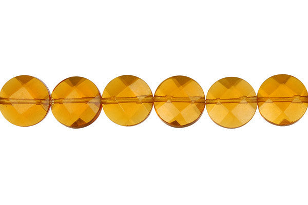 Amber Quartz Faceted Coin
