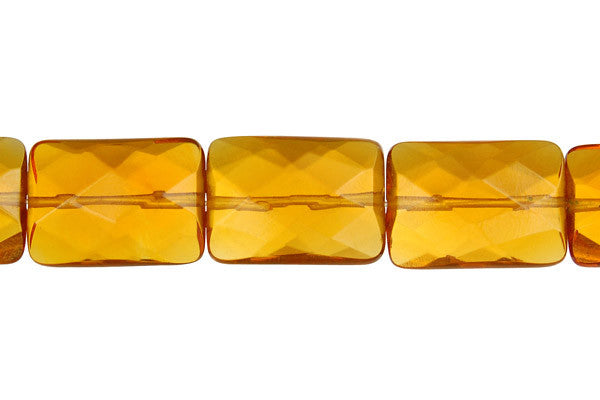Amber Quartz Faceted Rectangle