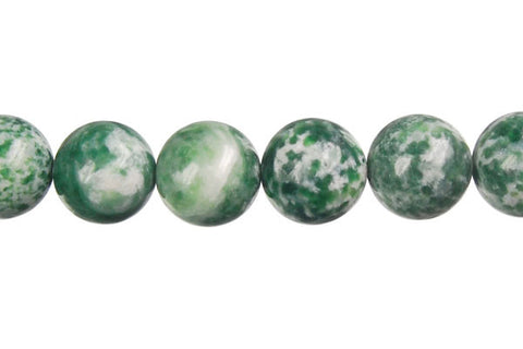 Green Spot Agate Round Beads
