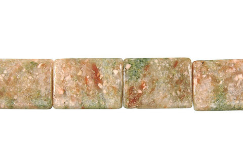 Unakite Puffy Rectangle Beads