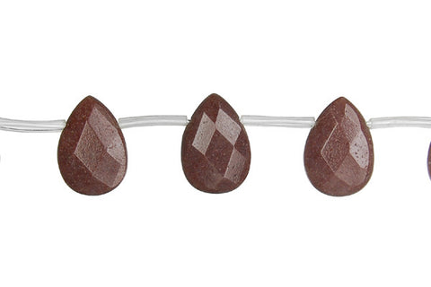 Chocolate Aventurine Faceted Flat Briolette Beads