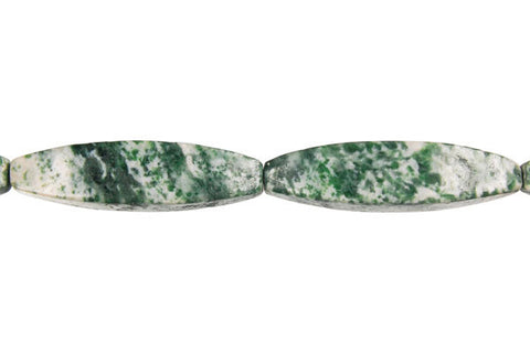 Green Spot Agate Square Rice Beads
