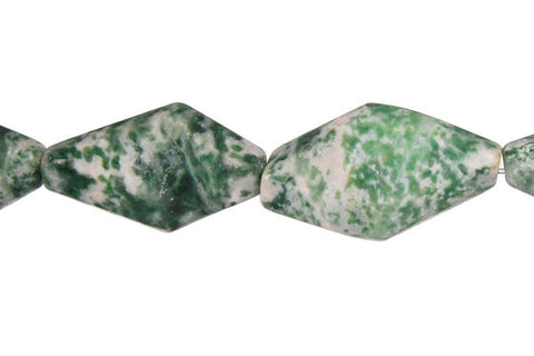 Green Spot Agate Diamond Nugget Beads