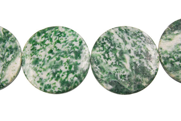 Green Spot Agate Coin Beads