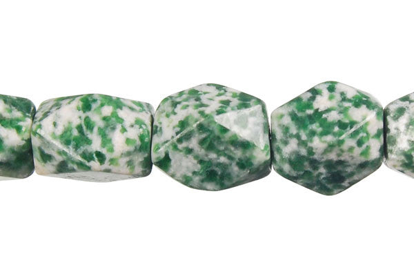 Green Spot Agate Faceted Nugget Beads