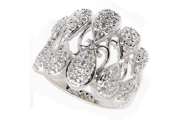 Sterling Silver CZ Paved Ring Style (la83)