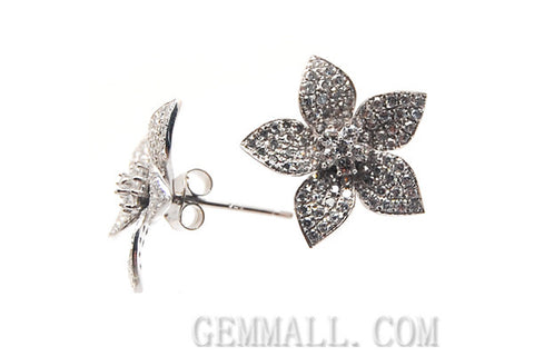 Sterling Silver CZ Paved Earrings Style (rhp0049)