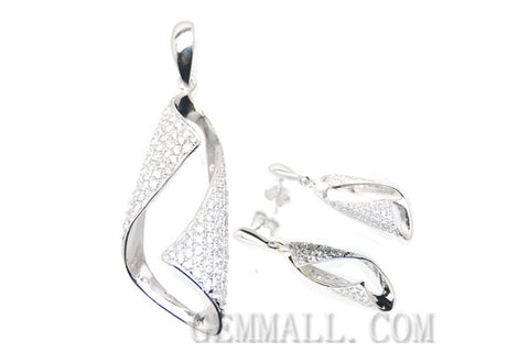 Sterling Silver CZ Micro-Paved Pendant with Earring Style (RHPE0009)