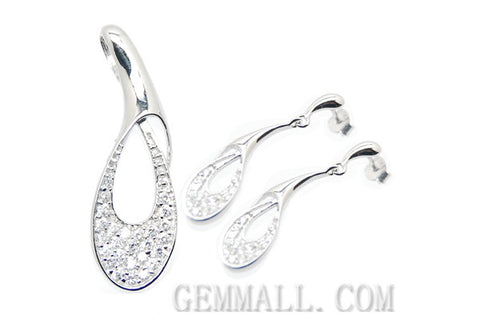 Sterling Silver CZ Paved Pendant with Earring Style (RHPE0012)