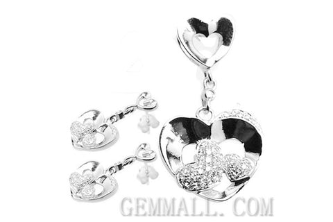 Sterling Silver CZ Micro-Paved Pendant with Earring Style (RHPE0015)