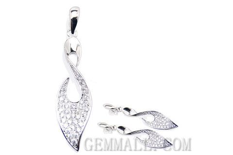 Sterling Silver CZ Micro-Paved Pendant with Earring Style (RHPE0017)