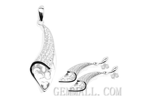 Sterling Silver CZ Micro-Paved Pendant with Earring Style (RHPE0019)