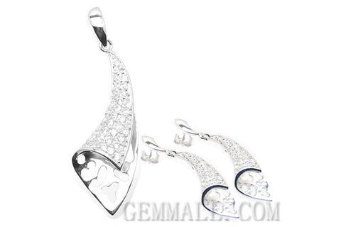 Sterling Silver CZ Paved Pendant with Earring Style (RHPE0020)