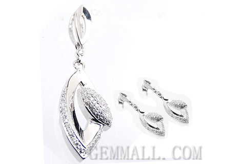 Sterling Silver CZ Micro-Paved Pendant with Earring Style (RHPE0021)