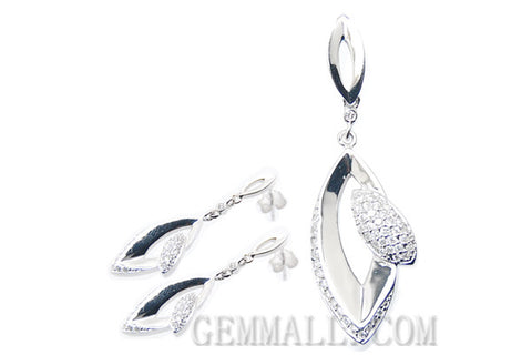 Sterling Silver CZ Paved Pendant with Earring Style (RHPE0022)