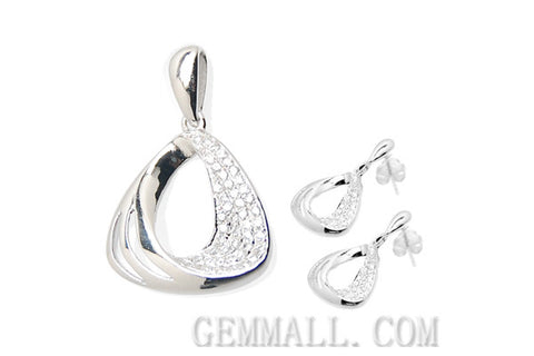 Sterling Silver CZ Micro-Paved Pendant with Earring Style (RHPE0023)