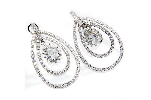 Sterling Silver CZ Paved Earrings Style (zy272)