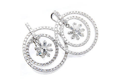 Sterling Silver CZ Paved Earrings Style (zy273)
