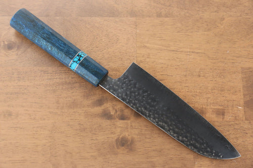 Yu Kurosaki Senko R2/SG2 Hammered Santoku Japanese Knife 165mm Maple(With turquoise ring Blue) Handle - Japanny - Best Japanese Knife