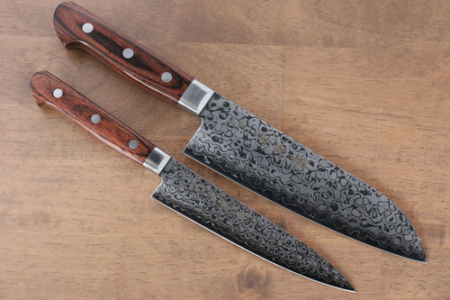 Sakai Takayuki VG10 17 Layer Damascus Mirrored Finish Japanese Santoku & Petty Japanese Knife mm - Japanny - Best Japanese Knife