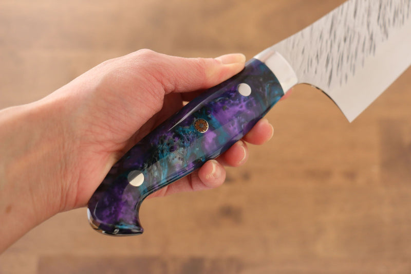 Yu Kurosaki Fujin SPG2 Hammered Gyuto Japanese Knife 240mm Blue purple Acrylic Handle - Japanny - Best Japanese Knife