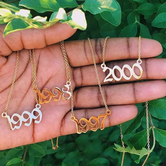 Personalized Year Necklace 1985 To 2020 Boho Jewelry Stainless Steel Gold or Silver