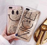 Nice to be Nice Gold Glitter Smiley Face Transparent Quicksand Case for iPhone 6 6S 7 8 Plus iPhone X XR Xs 11 Pro Max