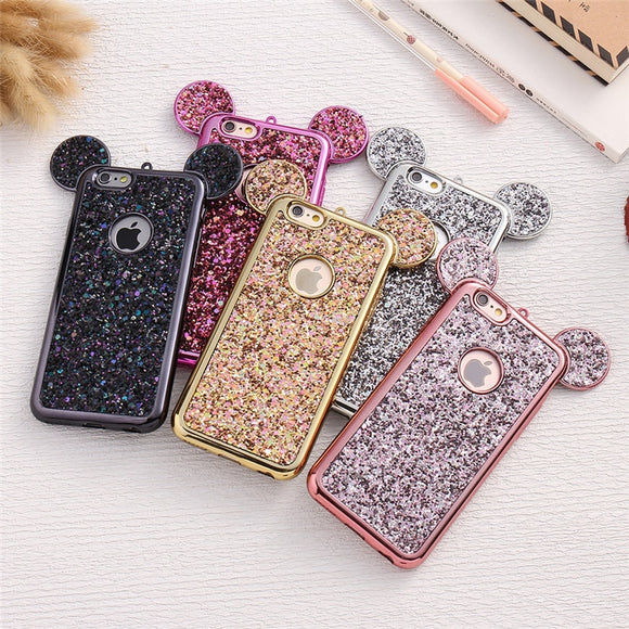 Luxury Cartoon 3D Ears Phone Case For iPhone XS Max X XR 5 5S SE 6 S 6s 7 8 6Plus 7Plus 8Plus Bling Glitter Cover