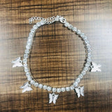 Gold Butterfly Rhinestone Tennis Anklet Crystal Ankle Bracelet Boho Beach Anklets for Women