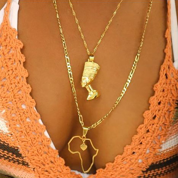 Egyptian Pharaoh Necklace Gold Unisex Jewelry Stainless Steel Gold Necklace