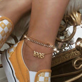 Stainless Steel Birth Year Anklets Gold, Silver, or Rose Gold Old English Year Number 1995 to 2020  Anklet Bracelet