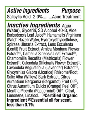 Active Ingredients for Acnedote by Alba Botanica