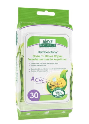 Aleva Naturals Bamboo Baby Nose n Blows Wipes, 30 counts