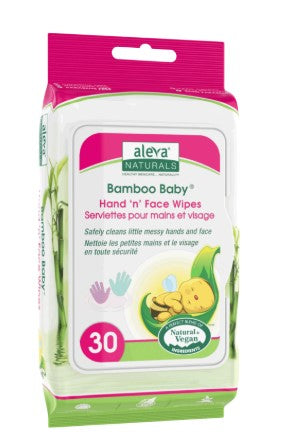 Aleva Naturals Bamboo Baby Hand n Face Wipes, 30 counts