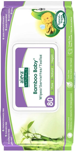 Aleva Naturals Bamboo Baby Wipes, 80 counts