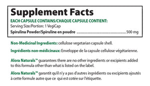 Supplement Facts Alora Naturals Super Spirulina - 500 mg, 90 Caps