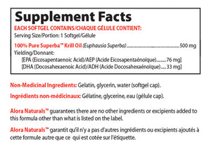Supplement Facts for Alora Naturals Superba Krill Oil 60sg- 500 mg, 60 Softgels