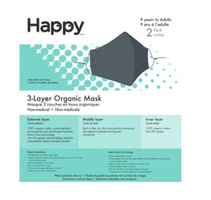 Happy Natural Triple Layer Face Mask Navy, 2 Pcs