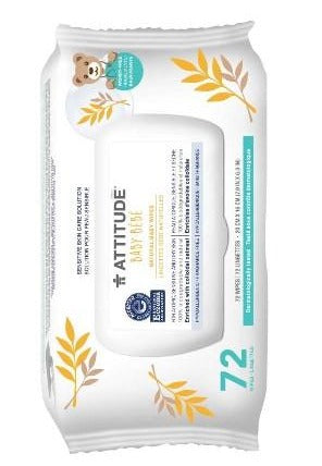 Attitude Natural Baby Wipes, 72 counts